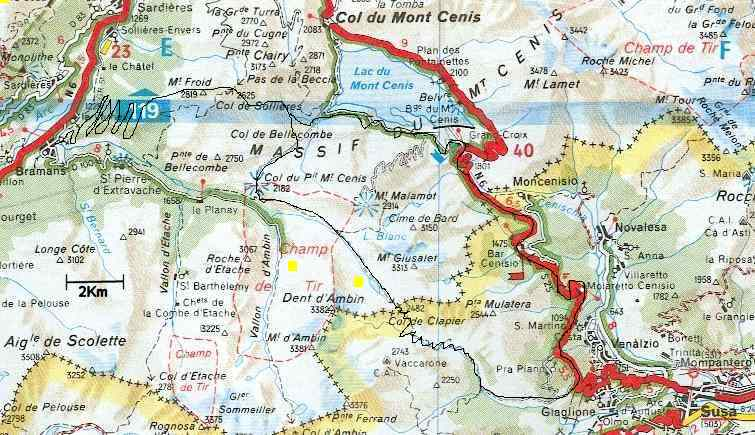 Map showing Col du Clapier and Col du Mont Cenis